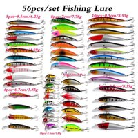 56PCS lot Fishing Lures Set Mixed Minnow lot lure Bait Crankbait Tackle Bass For Saltwater Freshwater Trout Bass Salmon Fishing