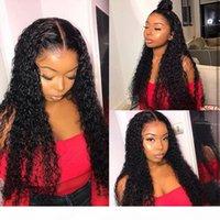 Dantel Ön İnsan Saç Peruk Siyah Kadınlar Için Derin Dalga Kıvırcık HD Frontal Bob Peruk Brezilyalı Afro Kısa Uzun 30 Inç Su Peruk Full13