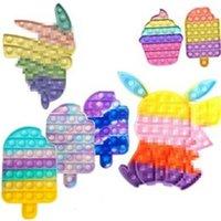 Empuje Bubble Fidget Toys Rabbit Desktop Puzzle Tabletop Tablero de descompresión Burbuja dedo Sensory Educational Juguetes