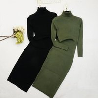 Casual Dresses 2021 Autumn Winter Women Knitted Dress Turtleneck Sweater Lady Slim Long Sleeve Bottoming Vestidos 179