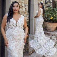 2021 Full Lace Wedding Dress Mermaid Plus Size Bridal Gowns Illusion V Neck Open Back Big Outdoor Marriage Dresses White Ivory Lady Wear
