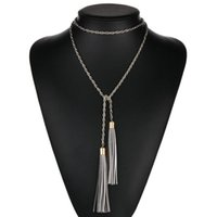 Chokers Korean Long Twist Chain Multilayers Necklace For Women Handmade Charm Leather Tassel Pendant Sweater Neck Collar Female