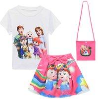 COCOMELLON COCOMELON BOYS JJ Famille Summer Summer Girls Showsuit Sleeve + Jupe + Sac Trois Pièce Trois costume Fashion Enfants Casual Tenues mignonnes Vêtements G4YS1QP