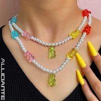 Chokers Y2K Candy Gummy Mini Bear Pearl Beaded Necklace For Women Baroque Choker Handmade Charm Bohemian Vacation Jewelry