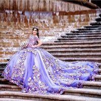 Perles d'épaule violettes Quinceanera robe robe de balle douce 16 ans robe princesse pour 15 ans Vestidos de años anos