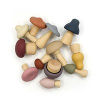 Деревянная игрушка набор силиконовые зубцы мягкие силиконовые младенца успокаивающие пузырьки Многоформу и размер мини гриба прорезывания зубов