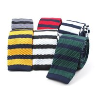Bow Ties Men's Knitted Tie Leisure Triangle Striped Neckties For Man Woven British Style Skinny Cravate Party Knitting