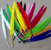 Новые прибытия 100 шт. / Лот DIY популярные гусиные перо шариковые ручки для свадьбы подарочная ручка