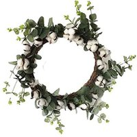 Cotton Ring Farmhouse Natural Boll Antique Flower Round Wreath And Artificial Green Leaf Retro Decorative Flowers & Wreaths