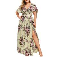 Платья плюс размер платья большие размеры макси летнее сарафан цветок с коротким рукавом шифоновые туники для вечеринки 5xl платье с щельюми