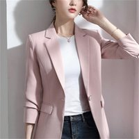 Women's Jackets 2021 Women Blazer Korea Casual Slim Blazers Work Coat Outerwear Fashion Autumn Career Female Jacket Office Lady H620