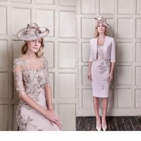 Fengyudress Knee Length Sheath Mother Of The Bride Dresses With Jacket 3 4 Long Sleeves Evening Gowns Appliqued Wedding Guest Dress