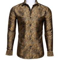 Men's Dress Shirts Barry.Wang Fahsion Luxury Gold Paisley Silk Shirt Men Long Sleeve Casual Flower For Designer Fit BCY-0031