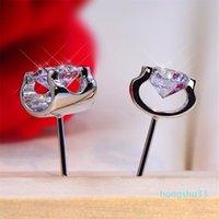 Bijoux classiques Solitaire Ox Boucles d'oreilles Véritable 925 Sterling Sterling 8mm Ronde Coupée Blanc Topazz CZ Diamond Gemstones Parti Femme Stud Boucle d'oreille
