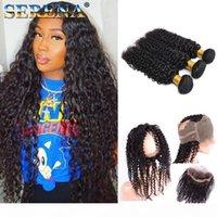 Afro cheveux profonde bouclés brésilien Bundles bouclés 360 frontal avec des paquets en dentelle frontale #with Bundels de cheveux non transformés Hair Extensions de cheveux pas cher