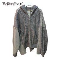 Twotwinstyle casual patchwork de malha cardigans para mulheres colarinho com capuz manga comprida Solta camisola feminino nova primavera 210428
