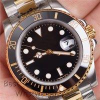 Серебряные золотые два тон Mens автоматические часы зеленые часы черный 2813 Движение автоматическое наручные часы Orusgi da uomo Orologio di lusso