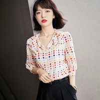 Summer Chiffon Shirt Half Sleeve Women's Blouse Color Polka Dot Doll Collar Shirt Fashion Lady Chiffon Tops