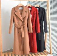 Moda kadın Max Studio Yün Ceket MARA Çift taraflı Kaşmir Yün Orta Uzunlukta Rüzgarlık Ceket