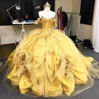 Vintage Altın Quinceanera Elbiseler Külkedisi Abiye Kapalı Omuz Çiçek Çiçek Dantel Aplike Bling Tül Tafta Tatlı 16 Elbise Kızlar Balo