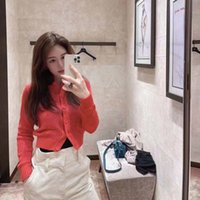 Straight 21 early autumn new FF family hollow out love knitted round neck long sleeve cardigan sweater
