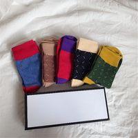 Chaussette de lettre classique complète avec boîte Cercle Point Femmes Chaussettes de mode HIP HOP Skateboard Skateboard Bas Athlétique Stocking Hosiery