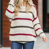 Fashion Women Sweater Winter Warm Clothes Knitted Autumn Striped Long Sleeve Sweter De Mujer Invierno Loose Tops Women's Sweaters