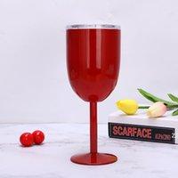 10 Unzen Edelstahl Weinbecher Geißeldichtung Weinglas stammlos Tumbler Doppelwand Vakuum mit Deckel Unbhable für Reise Party Home HWE8389