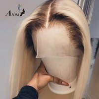 Dantel Peruk Düz Ön İnsan Saç Peruk Öncesi Klumped HD Şeffaf Tam 613 Sarışın Renkli Kısa Bob Tutkalsız Doğal Saç Çizgisi Atina