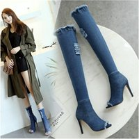 Boots 2021 Women Summer High Heels Peep Toe Over The Knee Quality Tight Jeans Fashion Plus Size 9 10 11 12