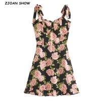 الصيف بلون مغاير اللون الأزهار طباعة النساء اللباس الكشكشة تنحنح التعادل القوس حزام أكمام مصغرة مثير شاطئ عطلة خمر 210429