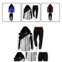 Men's Sweaters Coat Simple Contrast Colors Men Two Piece Set Zipper Sports Suit Hooded For Work