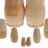 5ピース/セット不合備DIY空白の木製の胚ロシアのネスティング人形マトリョーシカおもちゃ子供誕生日ギフトパーティー用品ZA3798 349 R2