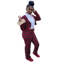 Two Piece Dress European Fashion Plaid Spliced Women Suits Full Sleeve Slim Short Tops And Long Pants 2 Set Casual Outfit