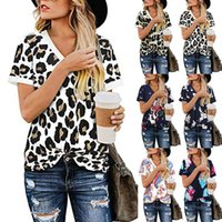 Spring And Summer European American Cross-border Women's Clothing Loose V-neck Printed Short-sleeved T-shirt Top