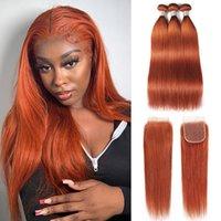 Ishow Brasilianische Virgin Weave Extensions Body Wave 8-28inch für Frauen # 350 Seidige Gerade Wefts Orange Ingwer Color Remy Human Hair Bündel mit Verschluss Peruanian