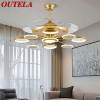 Потолочный вентиляторные огни Лампы Пульт дистанционного управления без лезвия Современное золото светодиод для домашней столовой ресторанные поклонники