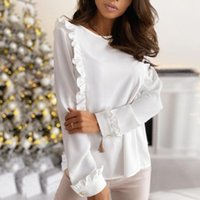 Women's Blouses & Shirts Office Women Elegant Chic Double Ruffles Button Blouse Top Loose Long Sleeve Pullover Fashion Clothing