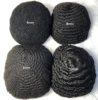 4mm 6mm 8mm 10mm 12mm Afro Wave Full Lace Toupee Mens Wig Malaysian Virgin Human Hair Replacement For Black Men Fast Express Delivery