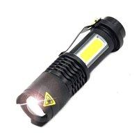 XML-Q5 + COB LED 휴대용 미니 줌 Torchflashlight 사용 14500 배터리 방수 수명 조명 랜턴 손전등 횃불