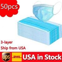 ABD Stokta 50 ADET Tek Kullanımlık Yüz Maskeleri 3-Katmanlı Toz Geçirmez PM2.5 Güvenlik Erkek Kadın Maskesi