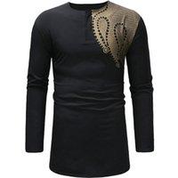 Paisley Siyah Gömlek Erkekler Afrika Tarzı Ince Uzun Robe Erkek Giyim Etnik Dashiki Camisas Bazin Baskı T Shirt Tops 210524