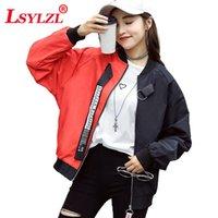 Женские куртки LSYLZL 2021 Женская пиджака Весна Осень Осенний Цвет Шище Свободные Кардиган Случайные Бейсбол Униформа Студенческий модница T84