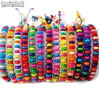 10pcs lot Colorful Wood Beads Weave Rope String Children Girl Friendship Bracelets Handmade Charm Strand Bangle Beach Jewelry