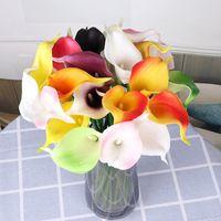 Dekorative Blumen Kränze 10 Stück PU Mini Calla Lily Künstliche Hochzeit Home POGY DIY Dekoration Multi-Color Pptional Fühlen Sie gefälschte Q37