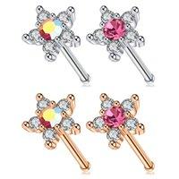 Autre Mélange Coloré Multi Crystal Stone Fleur Top 20 Gauge Cubic Zirconia Nose Piercing