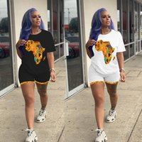 Women's Printed Tracksuits Two-piece African Map Round-neck Short-sleeved T-shirt and Shorts Set -- The Summer Fashion Tracksuit S-XL
