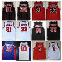 College trägt Männer # 91 Dennis Rodman Jersey # 33 Scottie Pippen-Trikots der Wurm 10 # Dennis Rodman - Männer Sport-Hemd genäht rot weiße Black-Hemden S-XXL