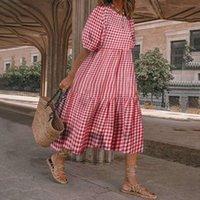 Casual Dresses Women Plaid Dress Vintage Puff Sleeve Midi VONDA 2021 Women's Print Bohemian Loose Holiday Robe