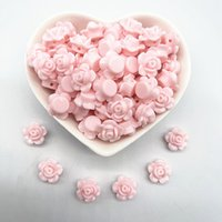 30 pcs13mm cor rosa flor acrílico espaçador solto grânulos para jóias fazendo acessórios de bracelete diy